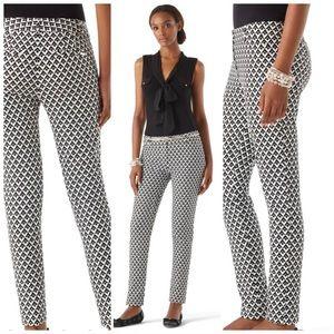 WHBM slim ankle geo print pants Sz 10